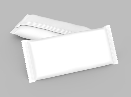 Blank food package mockup, two white bags template for snacks, sugar or instant coffee in 3d rendering, elevated view 免版税图像