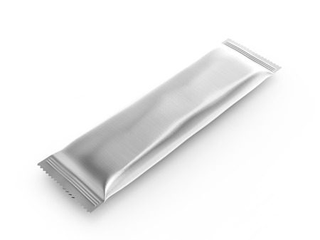 Blank food package mockup, one silver bag template for snacks, sugar or instant coffee in 3d rendering, elevated view