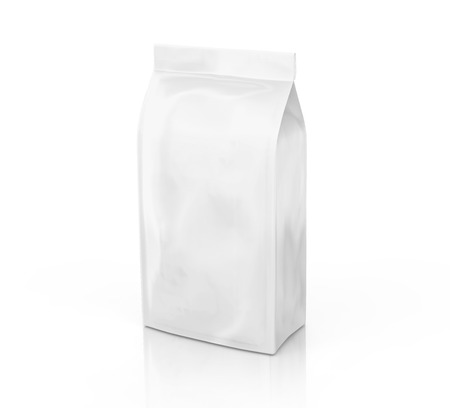 Coffee bean package mockup, blank pearl white bag template in 3d rendering isolated on white background