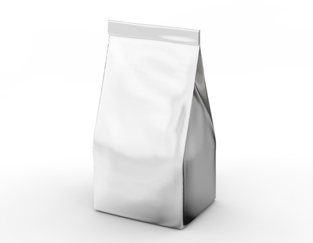 Coffee bean package mockup, blank silver bag template in 3d rendering isolated on white background