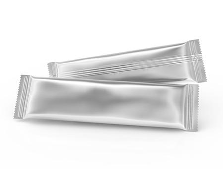 Leeg voedselpakket mockup, twee zilveren zakken sjabloon voor snacks, suiker of instant coffee in 3D-weergave, horizontale weergave
