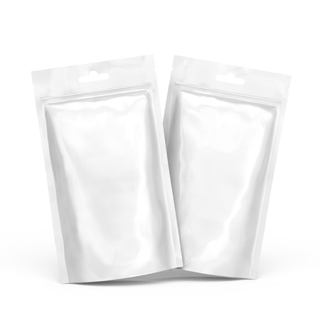 Blanco rits tasje, twee lege folie zakken sjabloon mockup voor ontwerp gebruikt in 3D-rendering