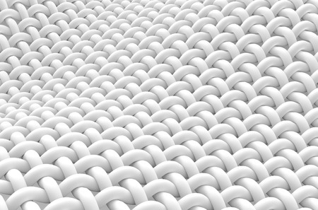 Close up look at interlaced fiber, curved fiber with smooth surface, 3d rendering Archivio Fotografico
