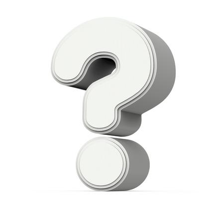 grijs vraagteken, 3D grafische weergave op een witte achtergrond