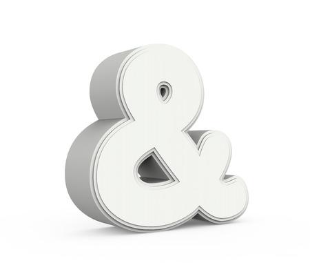 linker tilt grijze ampersand mark, 3D grafische weergave geïsoleerd op een witte achtergrond