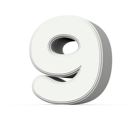 白い数 9、白い背景で隔離の 3 D レンダリング グラフィックを右チルトします。