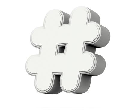 Witte hashtag markering, 3D-rendering grafisch geïsoleerd op een witte achtergrond