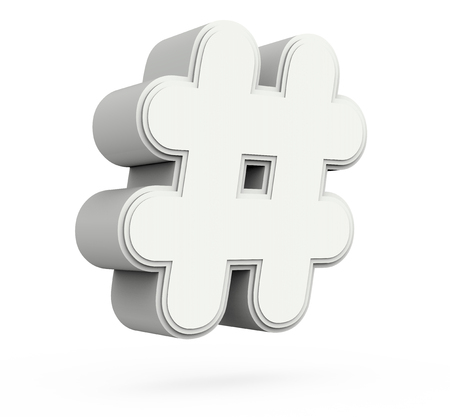 left tilt gray hashtag mark, 3D rendering graphic isolated on white background Stok Fotoğraf
