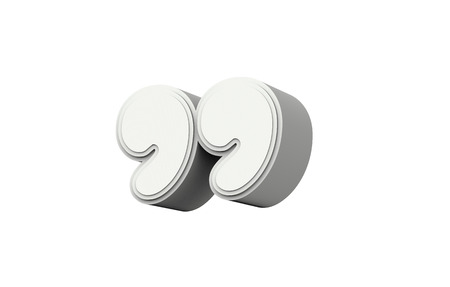 white quotation mark, 3D rendering graphic isolated on white background
