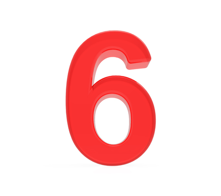 red number 6, 3D rendering graphic isolated on white background Foto de archivo