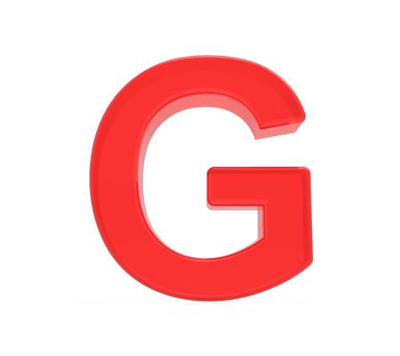 red letter G, 3D rendering graphic isolated on white background Reklamní fotografie