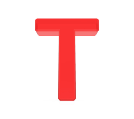 red letter T, 3D rendering graphic isolated on white background Banco de Imagens
