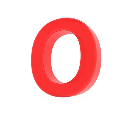 red letter O, 3D rendering graphic isolated on white background