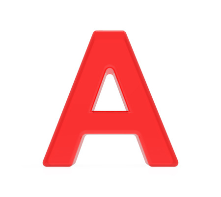 red letter A, 3D rendering graphic isolated on white background Stok Fotoğraf
