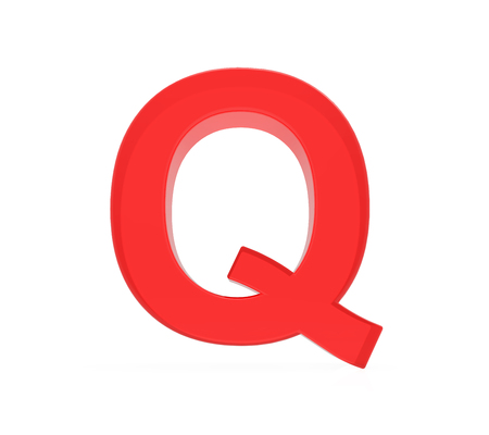 red letter Q, 3D rendering graphic isolated on white background