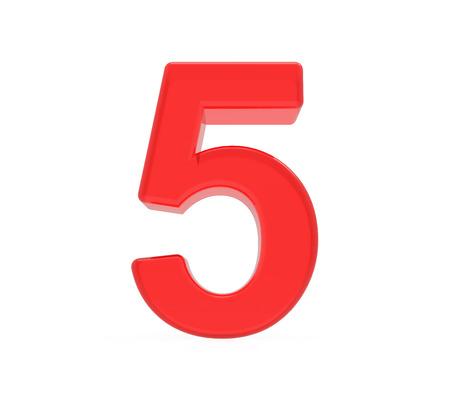 빨간색 숫자 5, 흰색 배경에 고립 된 3D 렌더링 그래픽 스톡 콘텐츠
