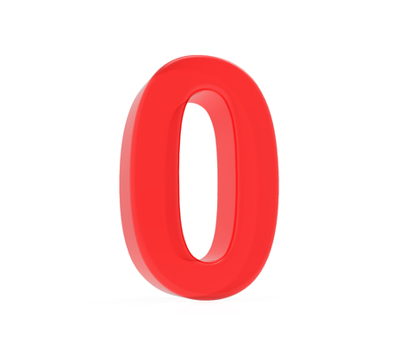 red number 0, 3D rendering graphic isolated on white background