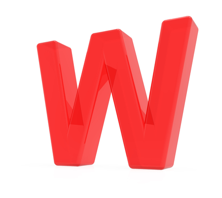 red letter W, 3D rendering graphic isolated on white background Reklamní fotografie