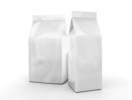 Pearl white coffee bean bag mockup, blank foil bag template in 3d rendering Stock Photo
