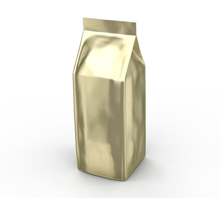 Golden coffee bean bag mockup, blank foil bag template in 3d rendering