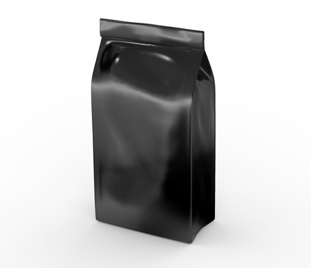 Black coffee bean bag mockup, blank foil bag template in 3d rendering