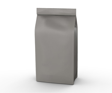 Brown and grey coffee bean bag, blank foil bag template in 3d rendering Stock Photo