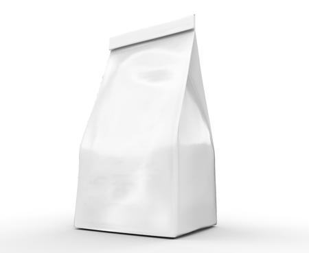 Pearl witte koffiebonenzak mockup, blanco foliezakje sjabloon in 3D-rendering