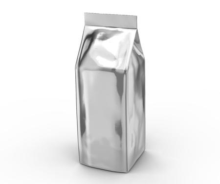 Silver coffee bean bag mockup, blank foil bag template in 3d rendering Stock Photo