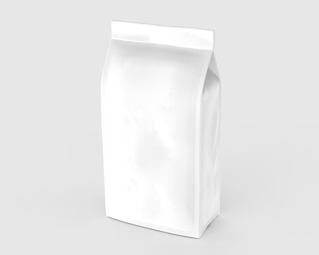 Pearl white coffee bean bag mockup, blank foil bag template in 3d rendering Stock Photo
