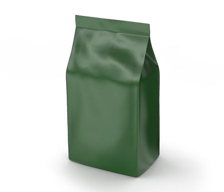 Green coffee bean bag mockup, blank foil bag template in 3d rendering