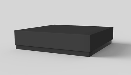 Flat black box mockup, blank box template isolated on grey in 3d rendering