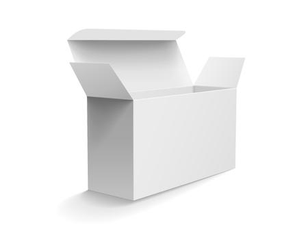Modello di scatola di carta in scatola frontale mockup, scatola di carta vuota modello in 3d illustrazione su sfondo bianco Archivio Fotografico - 84124104