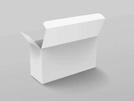 Roll end tuck front box mockup, blank paper box template design in 3d illustration on grey background