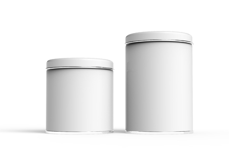 Metal tin mockup, blank round tin cans template with glossy surface in 3d rendering for design uses, two cans set Stock Photo