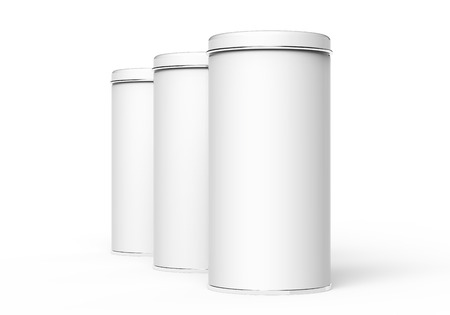 Tall metal tin mockup, blank round tin cans template with glossy surface in 3d rendering for design uses Stok Fotoğraf