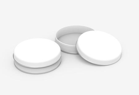 Korte metalen blikken mockup, blanco ronde blikjes sjabloon met glanzend oppervlak in 3D-rendering voor ontwerp gebruikt, een open en een gesloten Stockfoto