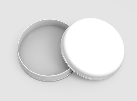 Short metal tin mockup, blank round tin can template with glossy surface in 3d rendering for design uses, open cap Stock Photo