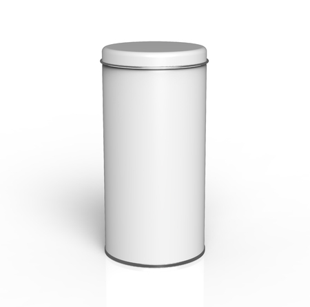 Tall metal tin mockup, blank round tin can template with glossy surface in 3d rendering for design uses Imagens