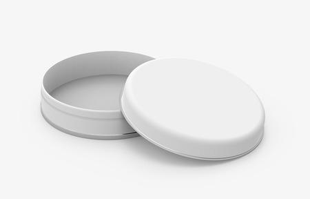 短い金属錫モックアップ、ブリキ缶テンプレート デザインを使用して、開いているキャップの 3 d レンダリングで光沢のある表面ラウンド空白