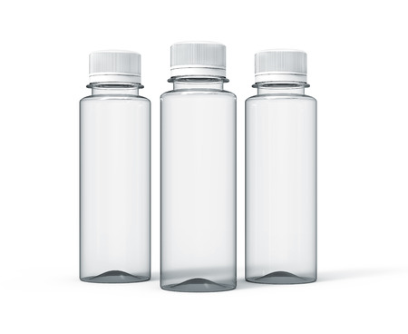 Plastic bottle for drinks, blank transparent bottle mockup template in 3d rendering isolated for design uses, three bottles collection, white background
