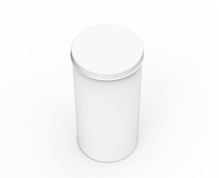 Tall metal tin mockup, blank round tin can template with glossy surface in 3d rendering for design uses, elevated view