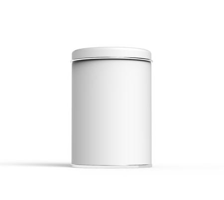 Metal tin mockup, blank round tin can template with glossy surface in 3d rendering for design uses
