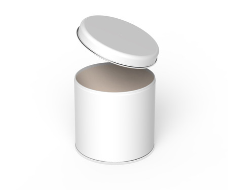 Metal tin mockup, blank round tin can template with glossy surface in 3d rendering for design uses, open cap elevated view Stock Photo