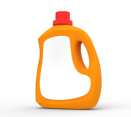 Blank laundry detergent bottle, orange container mockup with label in 3d rendering isolated on white background
