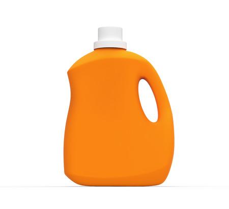 白い背景に分離された 3 d レンダリングで空白のランドリー洗剤ボトル、オレンジ コンテナー モックアップ 写真素材