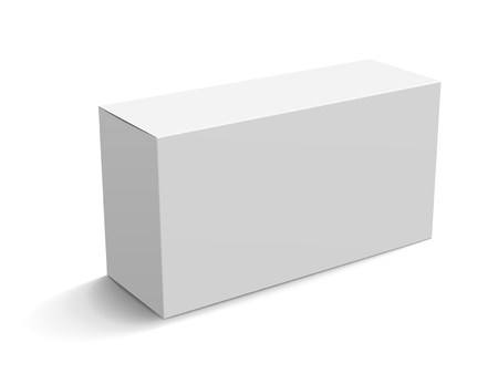 Blank paper box mockup, white box template for design uses in 3d illustration, elevated view Illustration