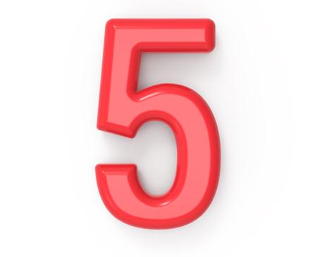 rood nummer 5, 3D-rendering rood plastic textuur nummer met frame geïsoleerd op een witte achtergrond Stockfoto