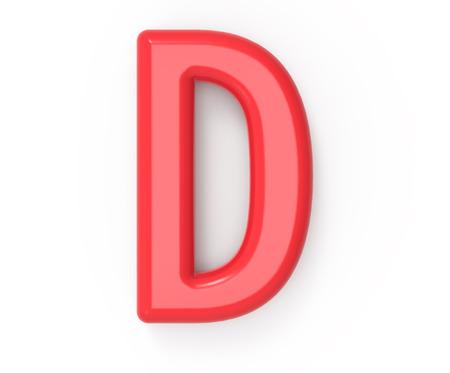 rode letter D, 3D-rendering rode plastic textuur alfabet met frame geïsoleerd op een witte achtergrond