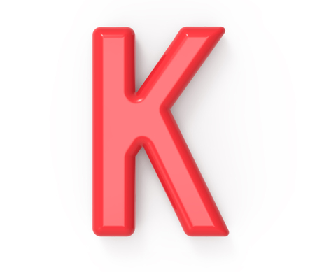 english letters: red letter K, 3D rendering red plastic texture alphabet with frame isolated on white background
