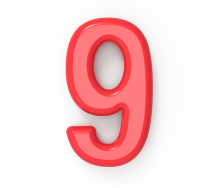Red number 9, 3D rendering red plastic texture number with frame isolated on white background